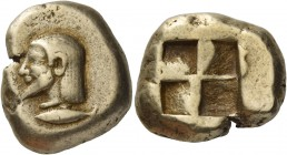 Mysia, Cyzicus. Stater circa 550-500, EL 15.99 g. Bearded male head l.; below, tunny l. Rev. Quadripartite incuse square. Greenwell pl. III, 31. von F...