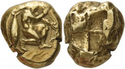 Mysia, Cyzicus. Stater circa 500-490 BC, EL 16.07 g. Warrior kneeling r., holding arrow and bow; in l. field, tunny. Rev. Quadripartite incuse square....