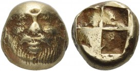 Ionia, Phocaea. Hecte circa 521-478 BC, EL 2.60 g. Facing head of silenus. Rev. Quadripartite incuse square. Bodenstedt 43. SNG Fitzwilliam 4559. Very...