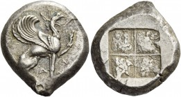 Teos. Stater circa 485-475, AR 11.95 g. Griffin seated r., with l. forepaw raised. Rev. Quadripartite incuse square. Balcer 13. Light iridescen tone a...