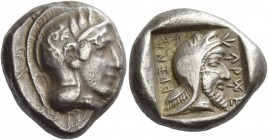Dynasts of Lycia, Kherei, circa 410 – 390. Stater circa 410-390 BC, AR 8.57 g. Helmeted head of Athena r., bowl decorated with spiral and three olive ...