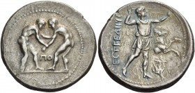 Pamphylia, Aspendus. Stater circa 300-280, AR 10.47 g. Two wrestlers grappling; in lower middle field, ΠO. Rev. Slinger standing r.; in r. field, fore...