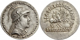 Kings of Bactria, Eucratides I, circa 170-145. Tetradrachm, Pushkalavati circa 160-135, AR 16.97 g. Draped bust of Eucratides r., wearing horned helme...