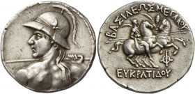 Kings of Bactria, Eucratides I, circa 170-145. Tetradrachm, Merv circa 155-145 BC, AR 16.87 g. Naked, heroic and diademed bust of Eucratides I l., see...