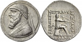 Kings of Parthia, Mithradates II, 121-91. Tetradrachm, Seleukeia on the Tigris circa 119-109 BC, AR 15.98 g. Diademed bust l. Rev. Archer (Arsakes I) ...