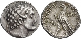 Ptolemy IX, 116 – 107. Tetradrachm, Paphos 116-107 BC, AR 14.17 g. Diademed head r., wearing aegis. Rev. Eagle standing l. on thunderbolt; in l. field...