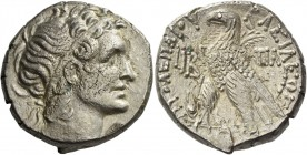 Cleopatra VII Thea Neotera and Ptolemy XIII. 51 – 47. Tetradrachm, Alexandria 41-40 BC, AR 13.16 g. Diademed head r., wearing aegis. Rev. Eagle standi...