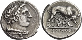Didrachm, Neapolis (?) after 276, AR 6.77 g. Head of Hercules r., hair bound with ribbon, with club and lion's skin over shoulder. Rev. She-wolf r., s...