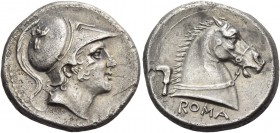 Didrachm circa 241-235, AR 6.41 g. Helmeted head of beardless Mars r., bowl decorated with griffin. Rev. ROMA Bridled horse's head r.; behind, sickle....