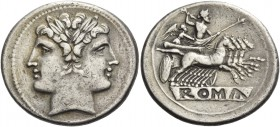 Quadrigatus circa 225-214, AR 6.62 g. Laureate Janiform head of Dioscuri. Rev. Jupiter, holding sceptre and hurling thunderbolt, in fast quadriga r. d...