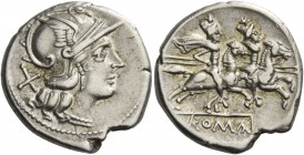 Denarius after 211, AR 4.14 g. Helmeted head of Roma r.; behind, X. Rev. The Dioscuri galloping r.; below, ROMA in linear frame. Sydenham 338. RBW 850...