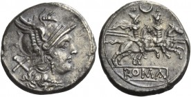 Denarius circa 207, AR 3.89 g. Helmeted head of Roma r.; behind, X. Rev. The Dioscuri galloping r.; above, crescent and below, ROMA in partial linear ...