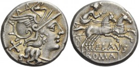 Decimius Flavus. Denarius 150, AR 3.87 g. Helmeted head of Roma r.; behind, X. Rev. Victory in biga prancing r.; below, FLAVS and ROMA in partial tabl...