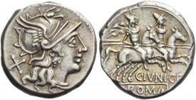 C. Iunius C.f. Denarius 149, AR 3.90 g. Helmeted head of Roma r., behind, X. Rev. The Dioscuri galloping r.; below horses, C·IVNI·C·F and ROMA in part...