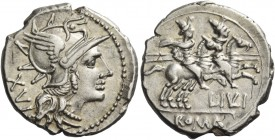 L. Iulius. Denarius 141, AR 3.98 g. Helmeted head of Roma r.; behind, XVI. Rev. The Dioscuri galloping r.; below horses, L·IVLI and ROMA in partial ta...
