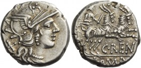 C. Renius. Denarius 138, AR 3.89 g. Helmeted head of Roma r.; behind, X. Rev. Juno in biga of goats r., holding sceptre and reins in r. hand and whip ...