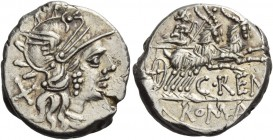 Denarius 138, AR 4.13 g. Helmeted head of Roma r.; behind, X. Rev. Juno in biga of goats r., holding sceptre and reins in r. hand and whip in l.; belo...