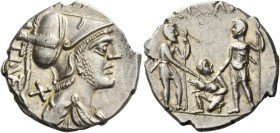 T. Veturius. Denarius 137, AR 4.00 g. TI ·VET ligate Helmeted and draped bust of Mars r.; behind neck, X. Rev. Oath-taking scene: youth kneeling l. be...