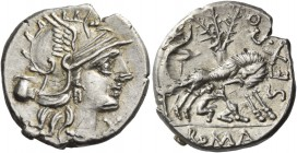 Sex. Pompeius. Denarius 137, AR 4.03 g. Helmeted head of Roma r.; below chin, X. In l. field, jug. Rev. SEX.PO [FOSTLVS] She-wolf suckling twins; behi...