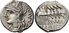 M. Baebius Q.f. Tampilus. Denarius 137, AR 3.91 g. Helmeted head of Roma l., wearing necklace of beads; below chin, X. Behind, TAMPIL. Rev. Apollo in ...