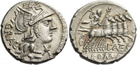 L. Antestius Gragulus. Denarius 136, AR 3.94 g. Helmeted head of Roma r.; below chin, Ú and behind, GRAG. Rev. Jupiter in fast quadriga r., hurling th...