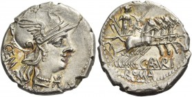 C. Aburius Geminus. Denarius 134, AR 3.93 g. Helmeted head of Roma r.; below chin, Ú and behind, GEM. Rev. Mars in quadriga r., holding spear, shield,...