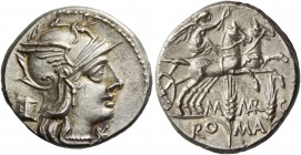 M. Marcius Mn. f. Denarius 134, AR 3.93 g. Helmeted head of Roma r.; below chin, X. Behind, modius. Rev. Victory in biga r., holding reins and whip; b...