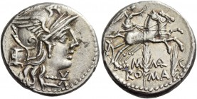 Denarius 134, AR 3.92 g. Helmeted head of Roma r.; behind, modius and below chin, Ú. Rev. Victory in biga r., holding reins and whip; below, M – MAR –...