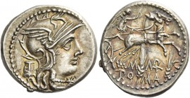 Denarius 134, AR 3.90 g. Helmeted head of Roma r.; behind, modius and below chin, Ú. Rev. Victory in biga r., holding reins and whip; below, M – MAR –...