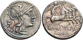 P. Maenius M. f. Antias or Antiaticus. Denarius 132, AR 3.89 g. Helmeted head of Roma r.; behind mark of value, Ú. Rev. Victory in prancing quadriga r...