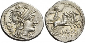 M. Aburi M.f. Gem. Denarius 132, AR 3.90 g. Helmeted head of Roma r.; below chin, Ú and behind, GEM. Rev. Sol in quadriga r., holding whip and reins; ...