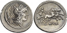 L. Iulius. Denarius 101, AR 3.87 g. Helmeted head of Roma; behind, corn ear. Rev. Victory in prancing biga r.; below, L·IVLI. Babelon Julia 3. Sydenha...