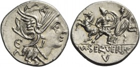 M. Servilius C.f. Denarius 100, AR 3.48 g. Helmeted head of Roma r.; behind, E. Rev. Two soldiers fighting; in the background, their horses. In exergu...