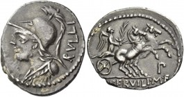P. Servilius M.f. Rullus. Denarius 100, AR 3.88 g. Helmeted bust of Minerva l.; behind, RVLLI. Rev. Victory, holding palm branch, in prancing biga r.;...