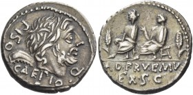 L. Calpurnius Piso Caesoninus and Servilius Caepio. Denarius 100, AR 3.98 g. PISO·CAEPIO·Q Laure­ate head of Saturn r.; behind, harpa and below chin, ...