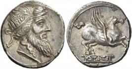 Denarius 90, AR 3.77 g. Head of Mutinus Titinus r., wearing winged diadem. Rev. Pegasus prancing r.; below, Q·TITI in linear frame. Babelon Titia 1. S...