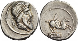 Q. Titius. Denarius 90, AR 3.62 g. Head of Mutinus Titinus r., wearing winged diadem. Rev. Pegasus prancing r.; below, Q·TITI in linear frame. Babelon...