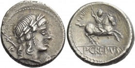 P. Crepusius. Denarius 82, AR 3.96 g. Laureate head of Apollo r., sceptre on far shoulder; below chin, [barley ear]. Rev. Horseman r., brandishing spe...