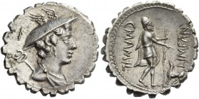 C. Mamilius Limetanus. Denarius serratus 82, AR 3.95 g. Draped bust of Mercury r., wearing winged petasus; caduceus over l. shoulder; above, I. Rev. C...