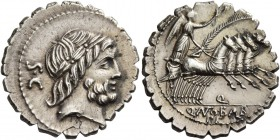 Q. Antonius Balbus. Denarius serratus 83-82, AR 3.78 g. Laureate head of Jupiter r.; behind, S·C. Rev. Victory in quadriga r., holding reins and palm ...