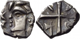 "Southern Gaul. Volcae-Tectosages. Circa 121-52 BC. Drachm (Silver, 15 mm, 2.89 g, 4 h), ""à la tête cubiste"". Male head to left, of ""cubist"" style; bef..."