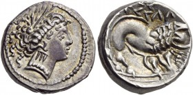 Southern Gaul. Insubres. Later 3rd-first half 2nd century BC. Drachm (Silver, 14 mm, 3.19 g, 2 h). Wreathed head of Artemis to right, wearing a triple...