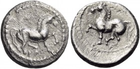 Central Europe. Burgenland and Western Slovakia. Later 2nd century BC. Obol (Silver, 10 mm, 0.86 g, 11 h). Horse trotting to right. Rev. Horse trottin...