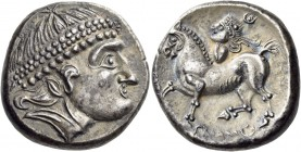 Middle Danube. Uncertain tribe. 2nd century BC. Tetradrachm (Silver, 23 mm, 12.58 g, 12 h), The 'Kroisbach' type, with diadem and 'Reiterstumpf', Burg...
