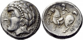 Central Europe. Burgenland and Western Slovakia. Late second century BC. Tetradrachm (Silver, 22 mm, 12.14 g, 6 h). Stylized, beardless male head to l...