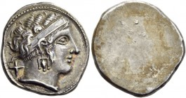 Etruria. Populonia. 3rd century BC. 10 Asses (Silver, 17 mm, 4.21 g). Female head to right, with her hair bound up by a broad diadem and wearing a tri...