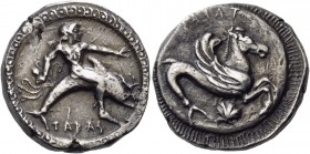 Calabria. Tarentum. Circa 500-490 BC. Stater (Silver, 19 mm, 8.05 g, 10 h). ΤΑΡAS Phalanthos, nude, riding dolphin to right, his left arm outstretched...