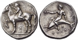 Calabria. Tarentum. Circa 385-380 BC. Stater (Silver, 21 mm, 8.04 g, 9 h). Nude youth, riding on horse standing to left with his right foreleg raised,...
