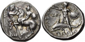 Calabria. Tarentum. Circa 302-280 BC. Stater (Silver, 22 mm, 7.84 g, 3 h). On the left, Nike standing facing, turned slightly to the right to grasp th...