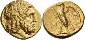 Calabria. Tarentum. Circa 280 BC. Stater (Gold, 17 mm, 8.53 g, 5 h). Laureate and bearded head of Zeus to right; behind neck, monogram of ΝΚ. Rev. ΤΑΡ...